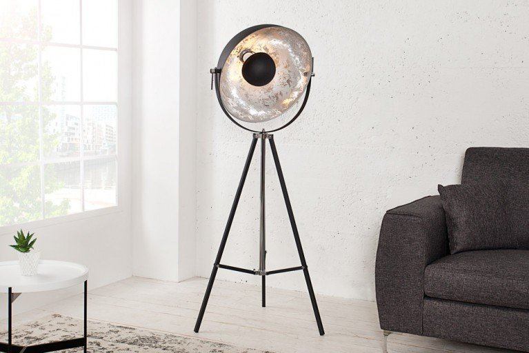 Moderne Design Stehlampe BIG STUDIO 160 cm schwarz silber Lampe mit Blattsilber
