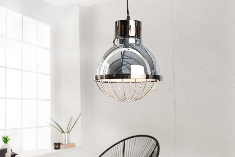 Moderne Industriehängeleuchte FACTORY silber 25cm Deckenlampe