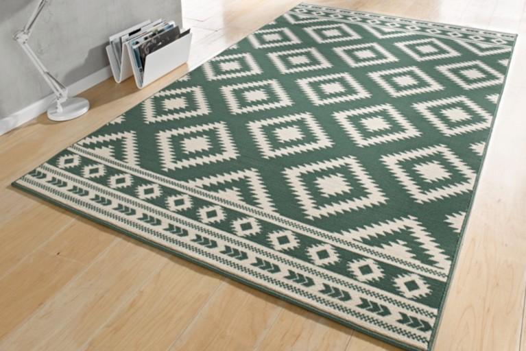 Dekorativer Design Teppich ETHNO 160x230cm  Grün Creme Aztekenmuster