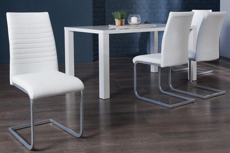 Moderner Freischwinger Stuhl DERBY weiß Chromgestell matt lackiert