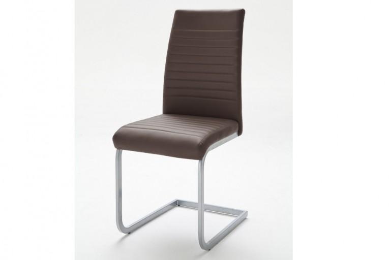 Moderner Freischwinger Stuhl DERBY braun Chromgestell matt lackiert