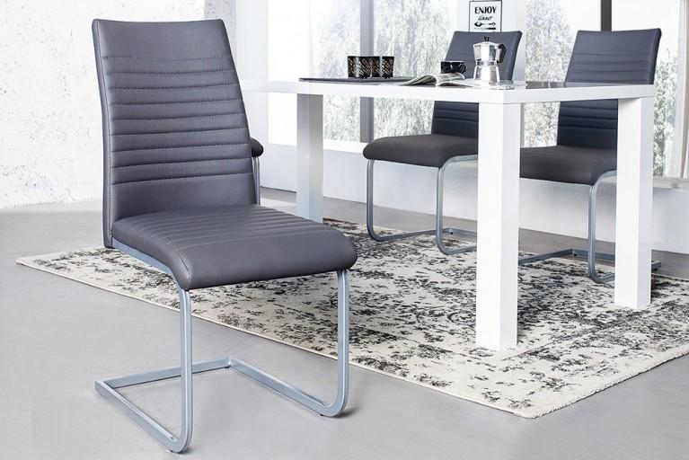 Moderner Freischwinger Stuhl DERBY grau Chromgestell matt lackiert