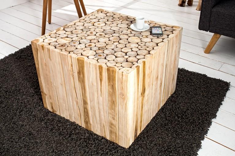 Design Teakholz Couchtisch MOSAIK 60cm Beistelltisch aus Massivholz