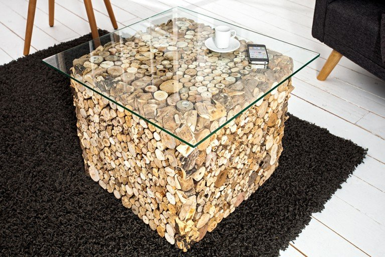Außergewöhnlicher Treibholz Couchtisch FOSSIL Teak Elemente in Handarbeit gefertigt mit Glasplatte