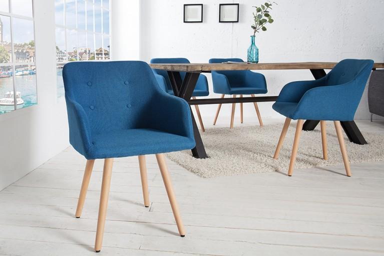 Exklusiver Design Stuhl SCANDINAVIA MEISTERSTÜCK Buche Gestell blau mit Armlehne im Retro Trend