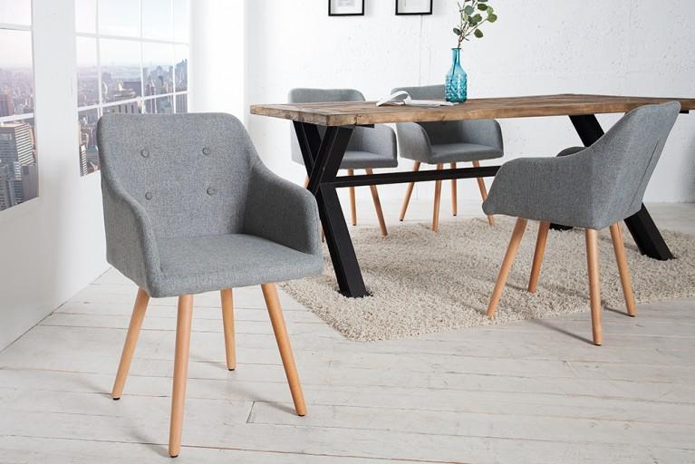 Exklusiver Design Stuhl SCANDINAVIA MEISTERSTÜCK Buche Gestell grau mit Armlehne im Retro Trend
