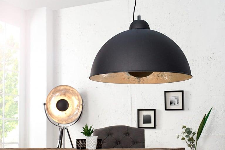 Moderne Hängelampe STUDIO schwarz silber Lampe mit Blattsilber