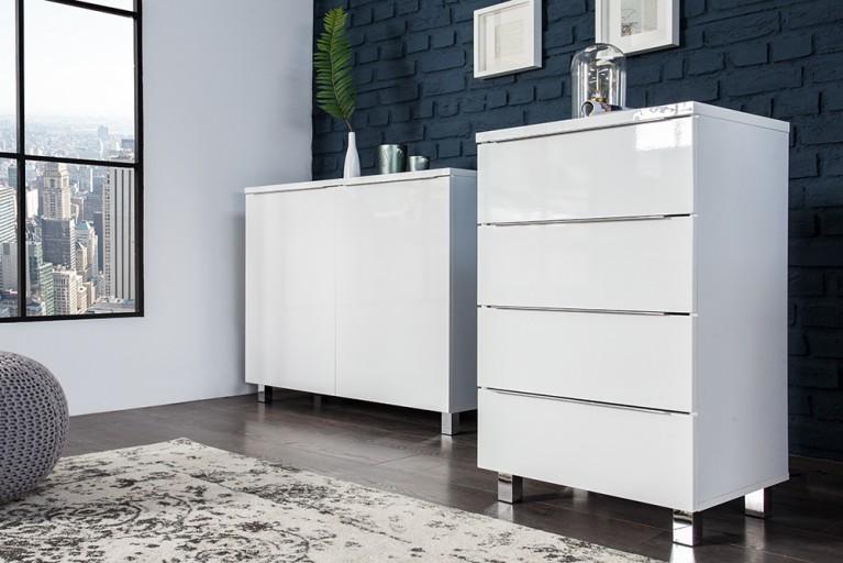 Moderne Design Kommode LUCENTE 50 cm High Gloss weiss Sideboard Stauraum
