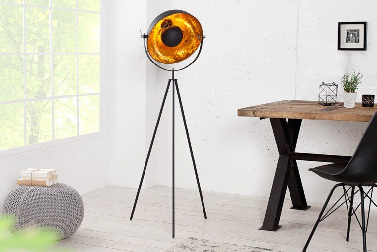 Moderne Design Stehlampe STUDIO schwarz gold 140cm