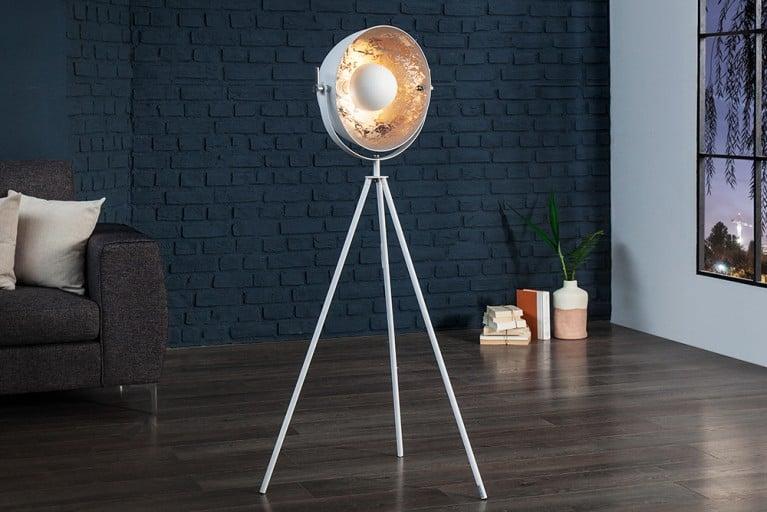 Moderne Design Stehlampe STUDIO 140 cm weiß silber Lampe mit Blattsilber