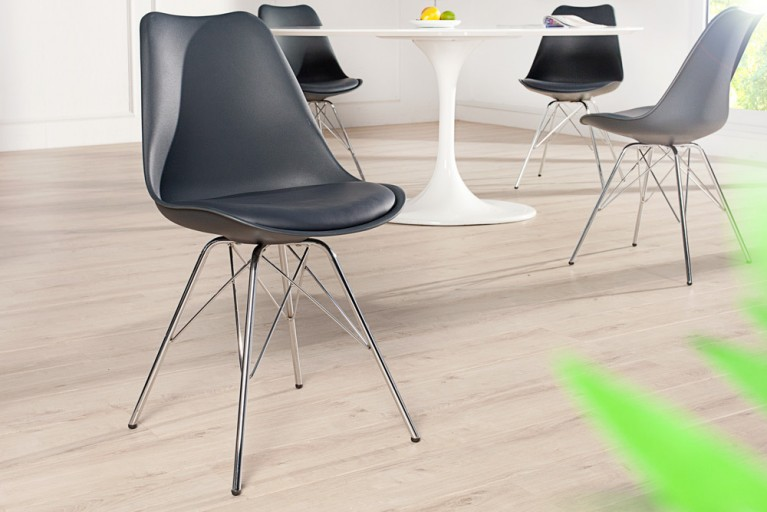 Retro Designklassiker Stuhl SCANDINAVIA MEISTERSTÜCK grau mit hochwertig verchromten Stuhlgestell