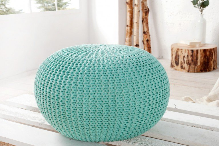 Design Strick Pouf LEEDS mint 50cm Hocker Baumwolle in Handarbeit Sitzkissen