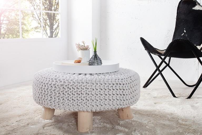 Design Sitzhocker LEEDS aus Strick weiß 65cm mit Holzfüßen Baumwolle in Handarbeit