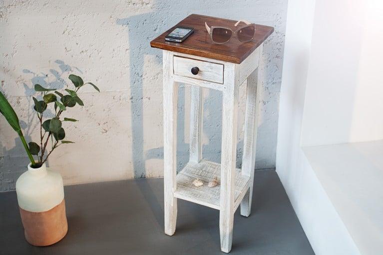 Edler Telefontisch LA FLEUR Teak Antik Landhaus Shabby Chic weiss mit Schublade Beistelltisch