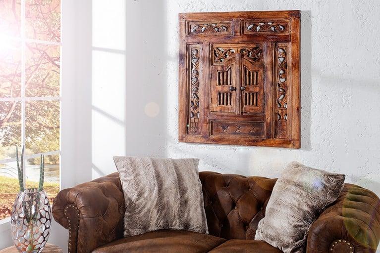 Orientalischer Spiegel SECRET WINDOW Mahagoni braun mit Schnitzereien 70cm Handarbeit