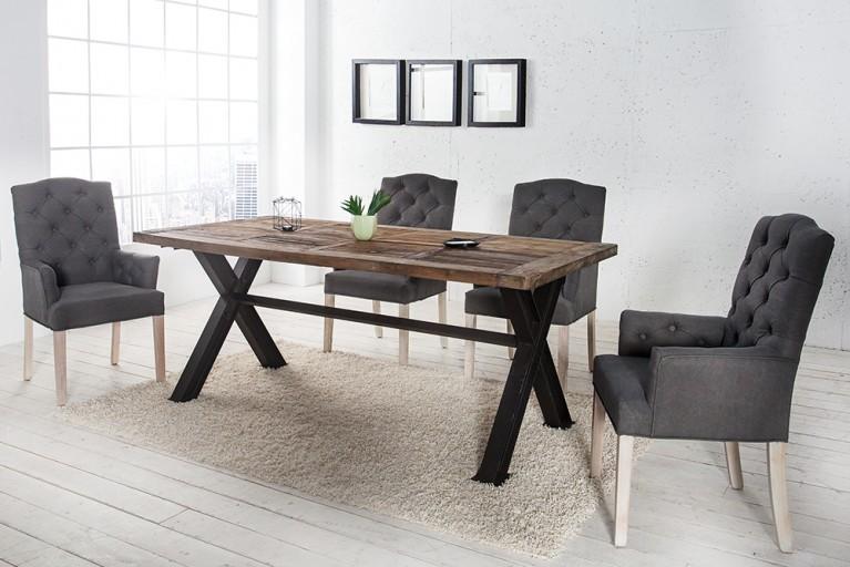 Stuhl CASTLE mit Armlehnen grau mit Chesterfield Steppung im Landhausstil