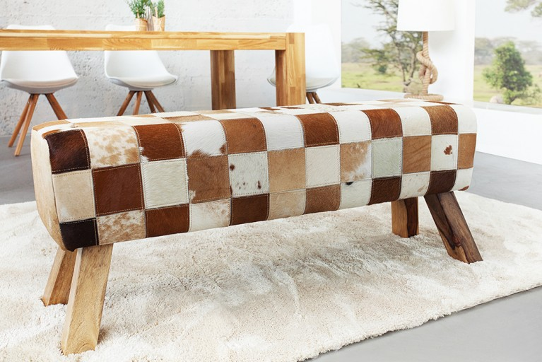 Design Sitzbank BOCK mit Echtfell Bezug Patchwork 120 cm Kult Schulsport Bank