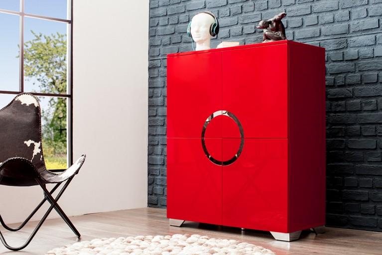 Exklusives Highboard ZEN Hochglanz rot 120cm mit Edelstahl Applikationen