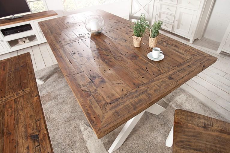 Hochwertiger Esstisch BYRON 180cm Pinienholz weiss vintage braun