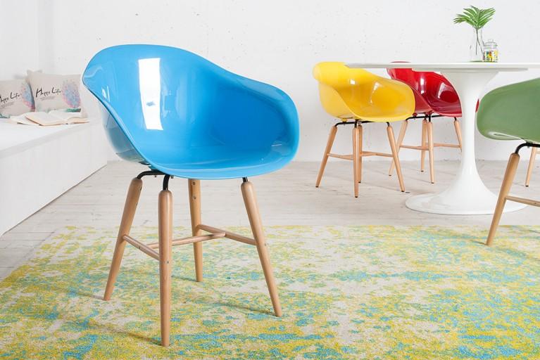 KARE DESIGN Designklassiker Stuhl FORUM blau mit großer Sitzschale und Stuhlbeinen aus Buche