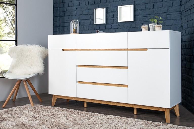 design sideboard lisboa wei 150cm auf einem eichengestell. Black Bedroom Furniture Sets. Home Design Ideas