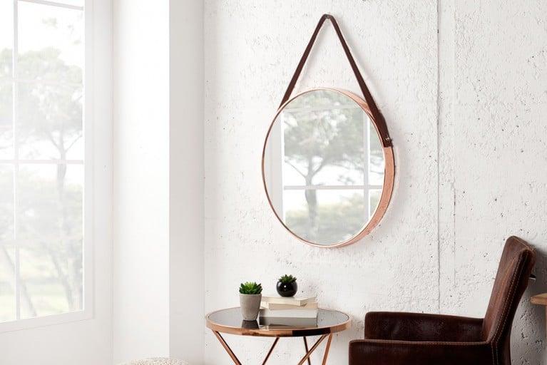 Großer runder Design Spiegel PORTRAIT 45 cm kupfer / braun mit Riemen aus Kunstleder Kupfer-Finish