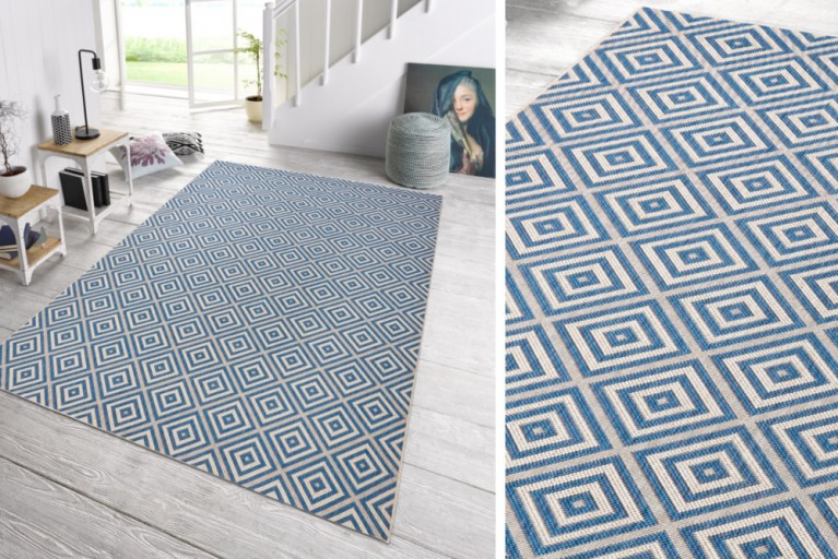 Eleganter In- & Outdoorteppich LOTUS 160x230cm Karo blau Lotus Summer Collection