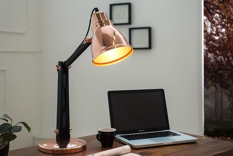 Moderne Tischleuchte INDUSTRIAL kupfer schwarz 60 cm Schreibtischlampe