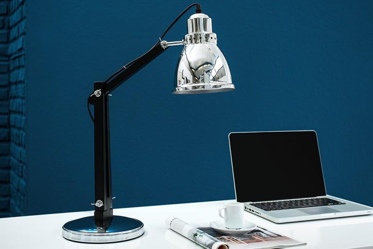Moderne Tischleuchte INDUSTRIAL chrom schwarz 60 cm Schreibtischlampe