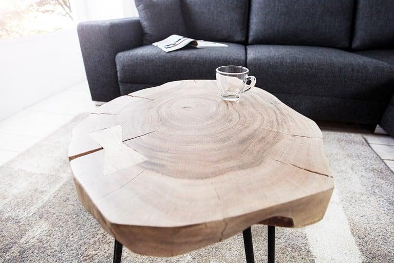 Design Beistelltisch GOA Hocker Baumstamm Scheibe Akazie 4 cm Tischplatte