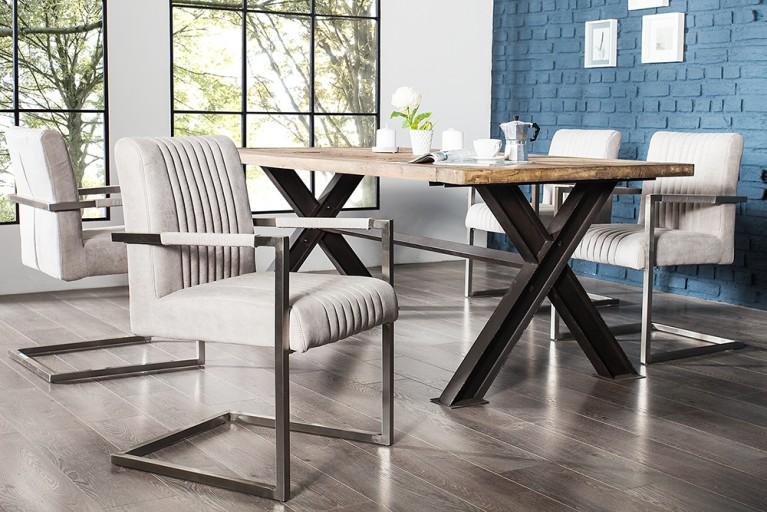 Echt Edelstahl Freischwinger Stuhl BIG ASTON stone grau mit hohem Sitzpolsteraufbau im Roadster Design