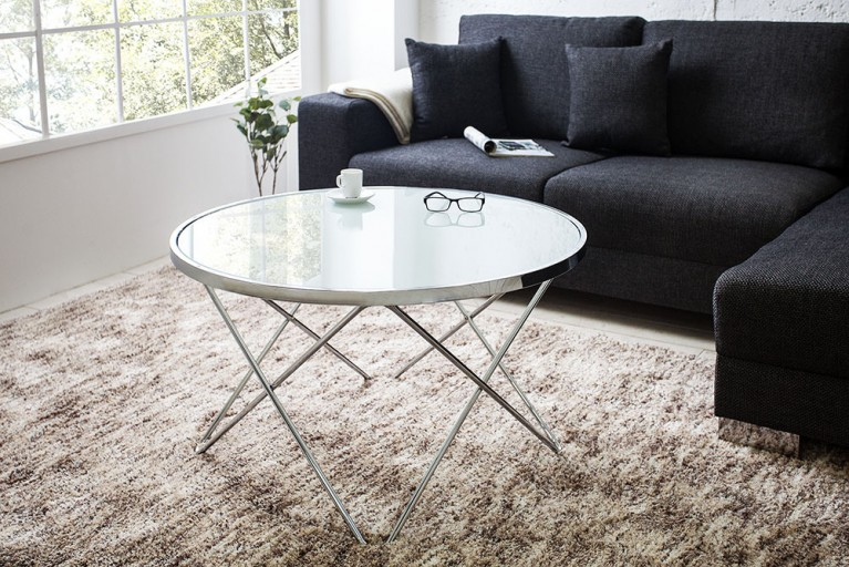 Stylischer Design Couchtisch ORBIT 85 cm chrom / opal weiß