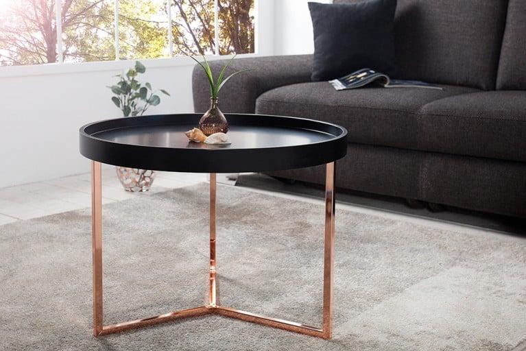 Extravaganter Couchtisch MODUL 60 cm matt schwarz kupfer rund inkl. Tablett Beistelltisch
