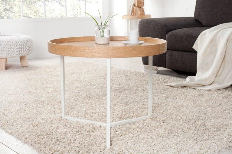 extravaganter couchtisch modul 60cm wei chrom rund inkl tablett beistelltisch riess. Black Bedroom Furniture Sets. Home Design Ideas