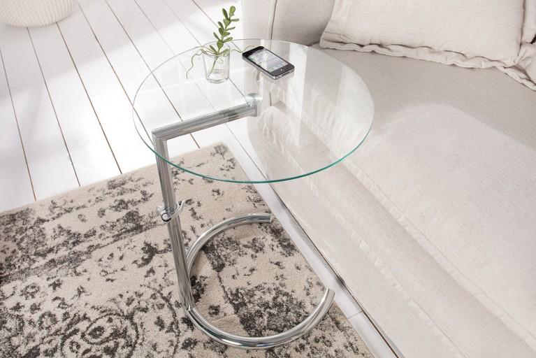 Design Beistelltisch EFFECT 50 - 70 cm Chrom Glas höhenverstellbar