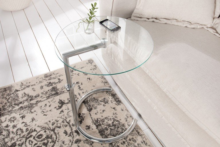 stylischer design tablett tisch trayful 55cm beistelltisch aluminium silberfarbig riess. Black Bedroom Furniture Sets. Home Design Ideas