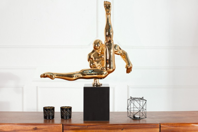 Design Statue ATHLETE 70 cm gold Turner Dekofigur Handarbeit