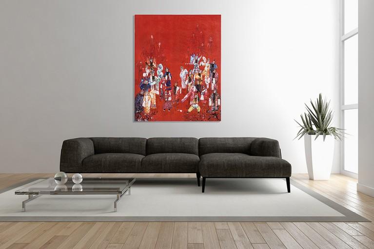 Handgemaltes Ölgemälde CHINESE OPERA II hochwertiges Original in Galerie Qualität 120x100cm