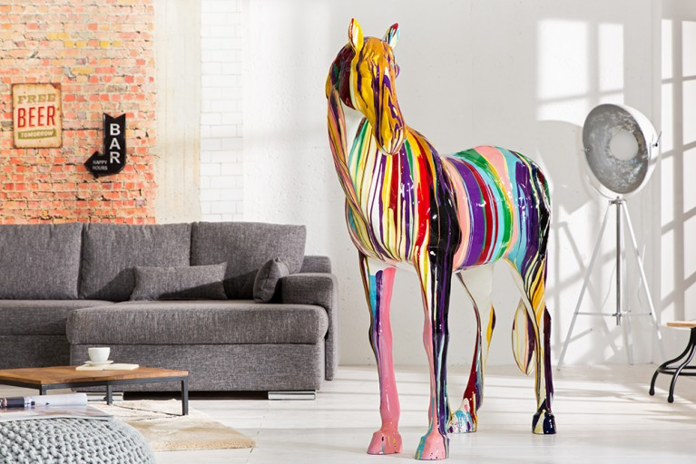 Exklusive Dekofigur großes Pferd HORSE POP ART 160cm Unikat