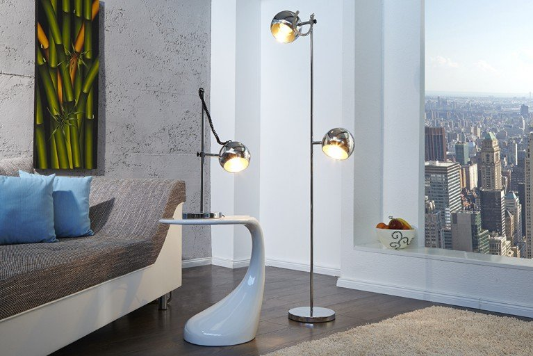 Stylische Design Stehlampe BUBBLE Stehleuchte in Chrom