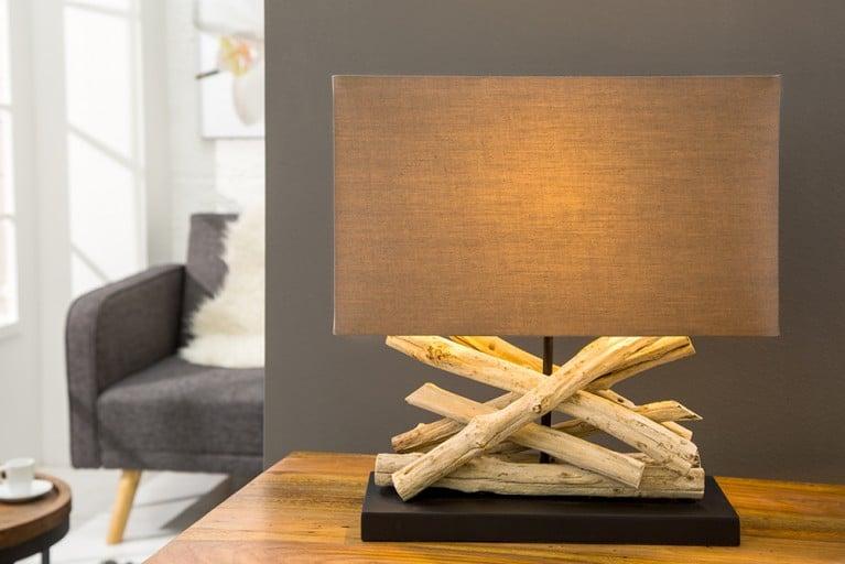 Design Tischleuchte LIFE aus Treibholz mit Leinenschirm braun Handarbeit