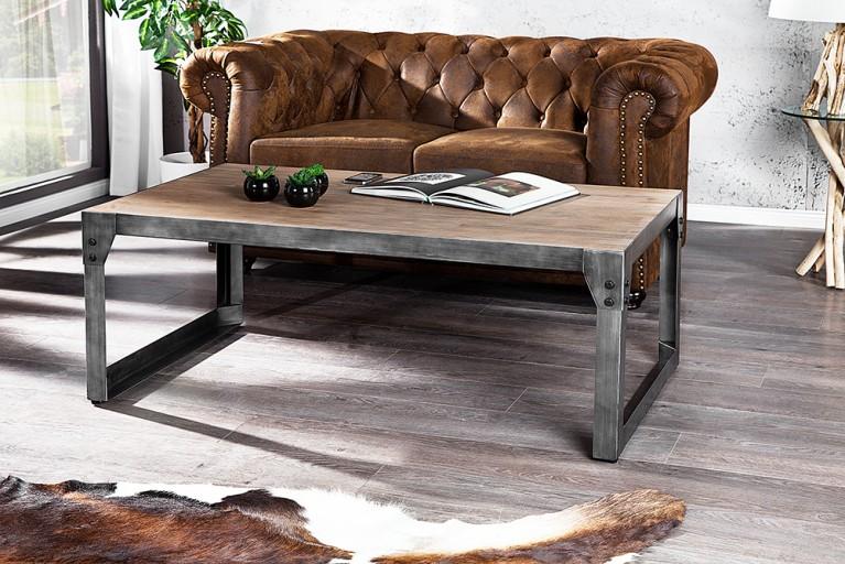 Design Couchtisch INDUSTRIAL 110cm teakgrau Akazie Massivholz gekälkt mit Metallgestell