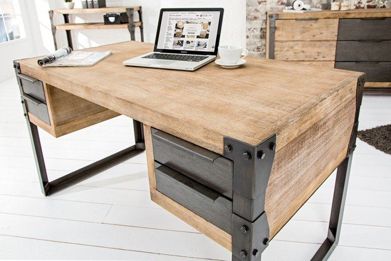 Massiver Schreibtisch FACTORY 135cm mit 4 Schubladen Akazie teakgrau weiß gekälkt