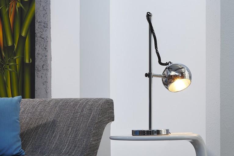 Stylische Retro Tischlampe BUBBLE chrom Lampe Tischleuchte
