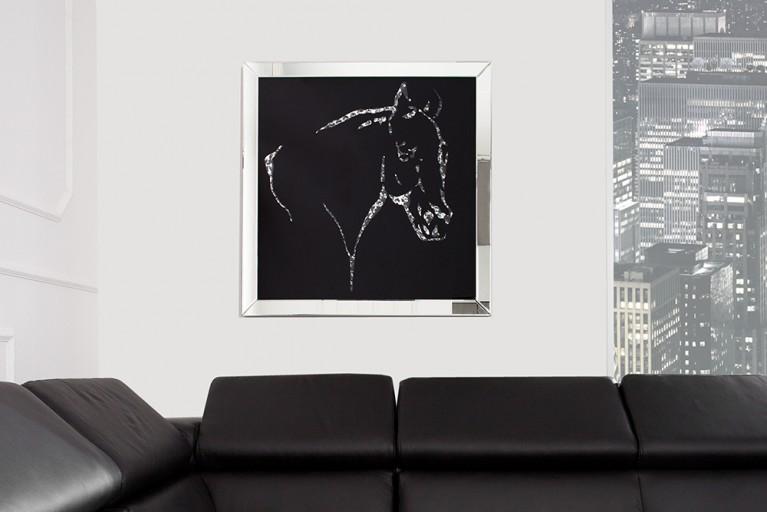Exklusive Wandskulptur Bild MIRROR Horse 60x60 cm Glaskristalle
