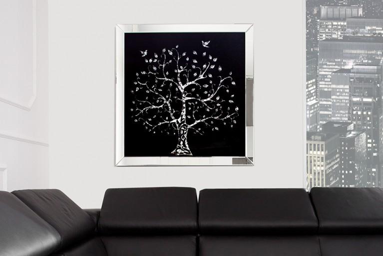 Exklusive Wandskulptur Bild MIRROR Tree 80x80 cm Glaskristalle