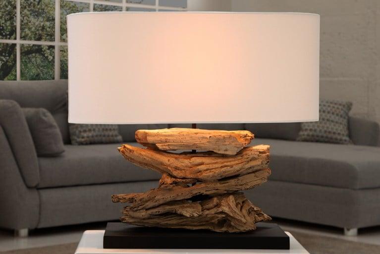 Design Treibholz Lampe RIVERINE Leinen Schirm Tischleuchte Handarbeit