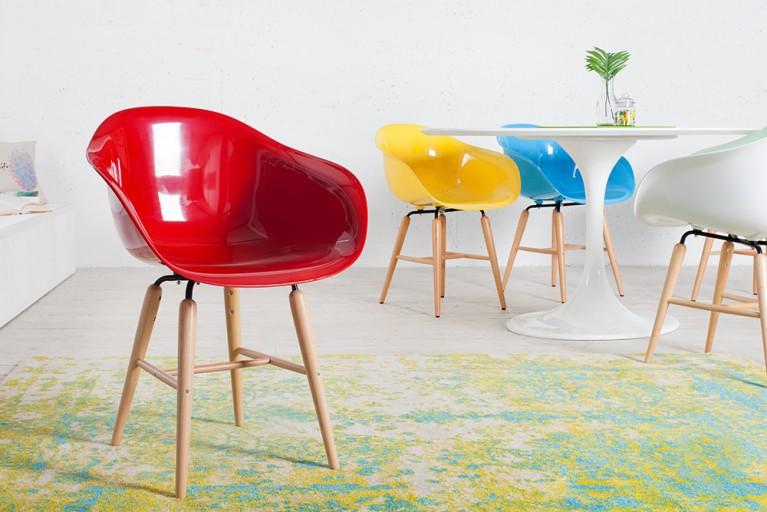 KARE DESIGN Designklassiker Stuhl FORUM rot mit großer Sitzschale und Stuhlbeinen aus Buche