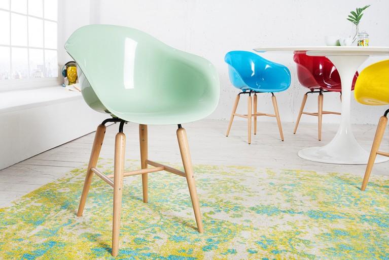 KARE DESIGN Designklassiker Stuhl FORUM mint mit großer Sitzschale und Stuhlbeinen aus Buche