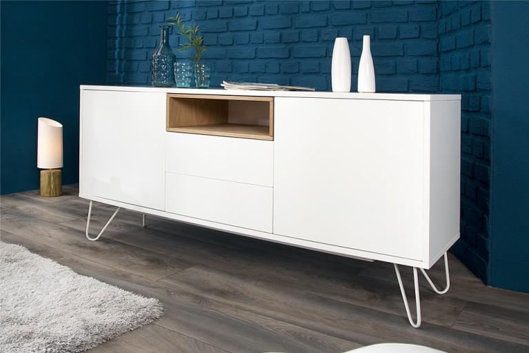 Modernes Design Sideboard  BALTIC 150cm edelmatt weiß Echt Eiche Anrichte